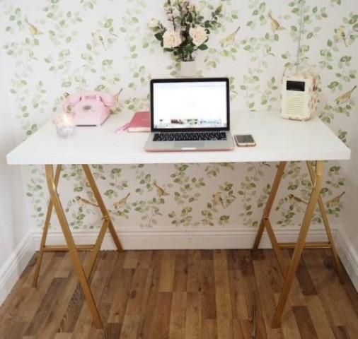 a chic desk made using a Linnmon countertop and Lerberg trestle by IKEA is a cool idea with a glam touch