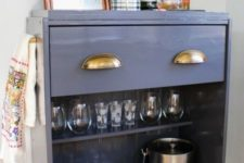 23 an IKEA Rast dresser turned into a stylish home bar on casters with a drawer and an open storage compartment