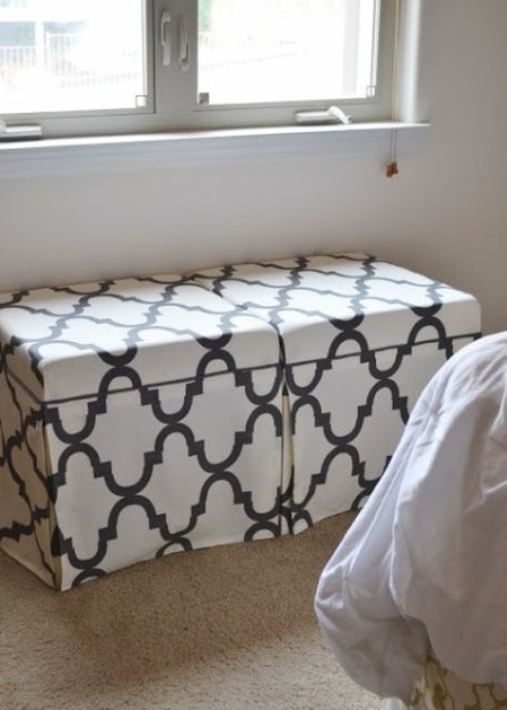 IKEA Lack coffee tables with printed black and white fabric slipcovers is a stylish idea for an ottoman