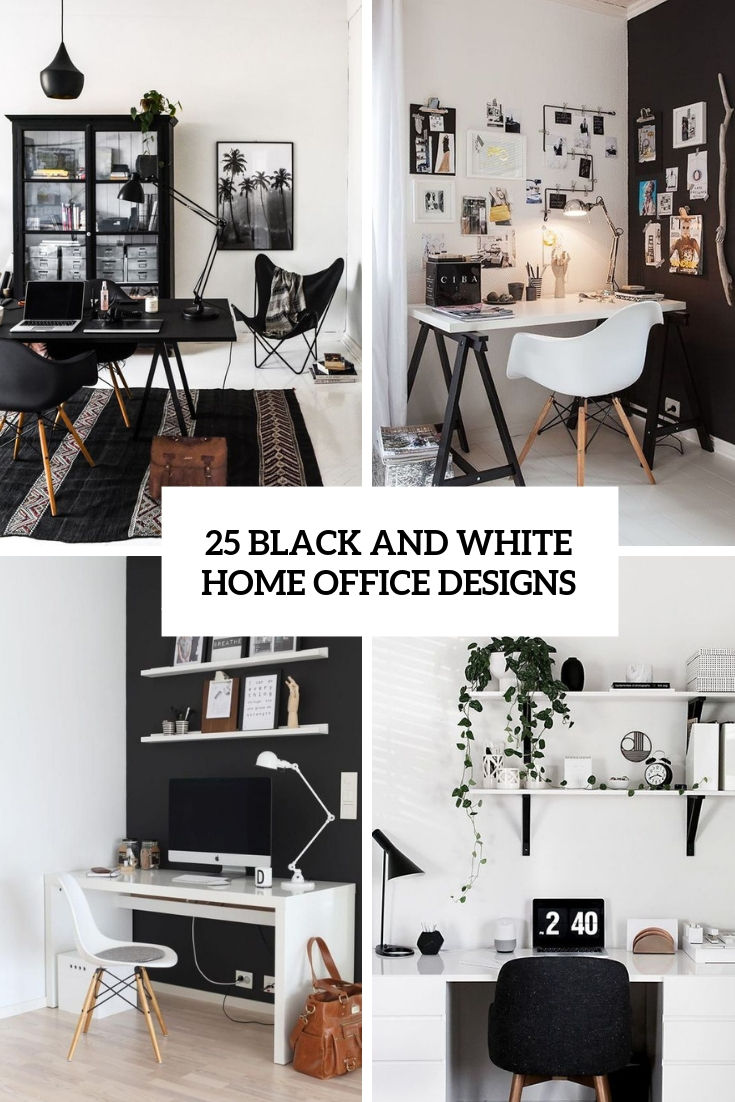 25 Black And White Home Office Designs