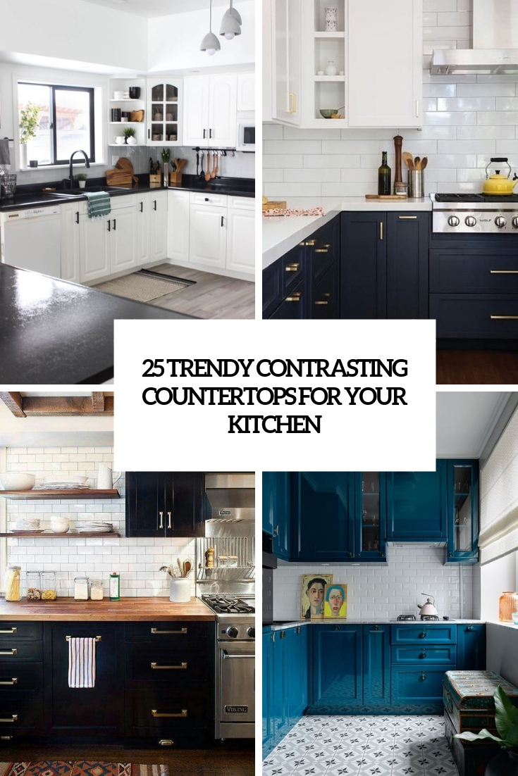 trendy contrasting countertops for your kitchen cover