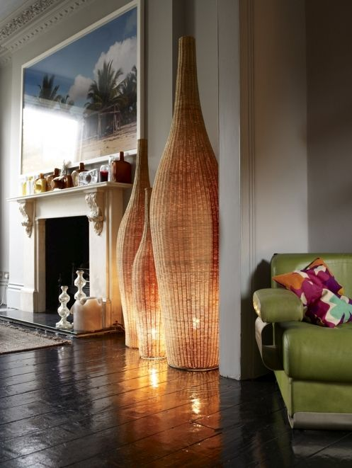 unique oversized bottle shaped wicker lamps will make a statement in the space and make it bright and chic