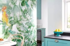 a cool kitchen with a tropical leaf wall