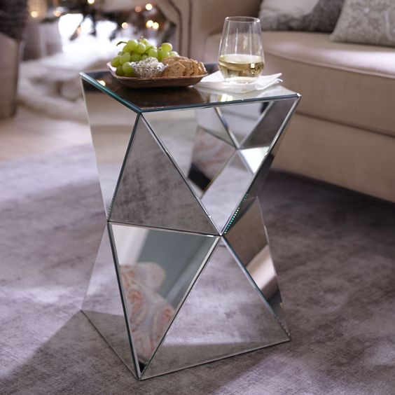 a diamond-inspired mirrored coffee table will shine and accent your interior adding a touch of glam