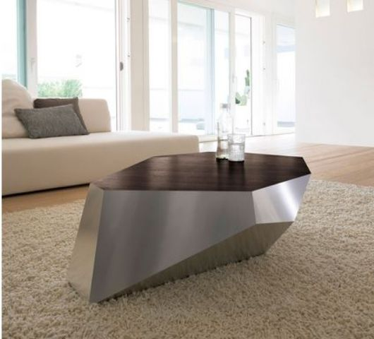 a geometric coffee table, the design of which is inspired by diamonds and sculptures