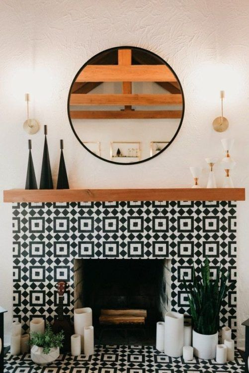 bold geometric black and white mosaic tiles make a bold statement with pattern and contrasting colors