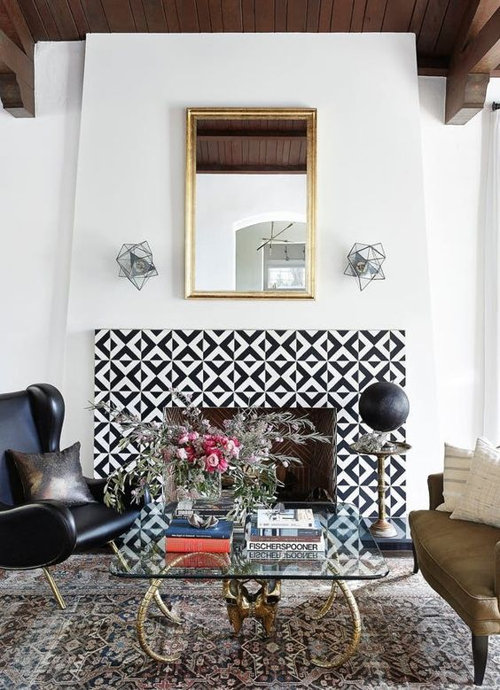 bold geometric tiles make a statement with contrasting colors and pattern and add to the eclectic living room