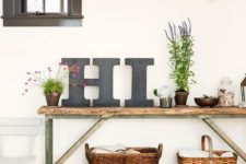 05 a summer console table done with letters, potted greenery and blooms, baskets and shabby chic details