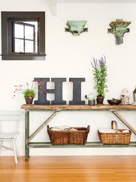 a summer console table done with letters, potted greenery and blooms, baskets and shabby chic details