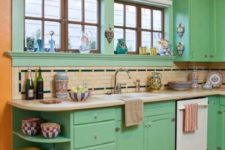 05 a super bright kitchen done in orange and green, with some neutral touches for calming down the space