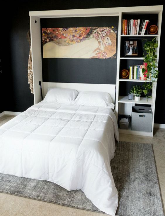 an opened Murphy bed with an additional storage unit by its side is a very functional item