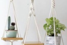 07 mini hanging shelves with macrame cords and ropes and with tassels are nice to hold planters