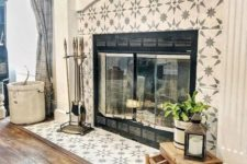 08 star patterned grey and white tiles look chic, refined and perfectly fit a modern farmhouse living room