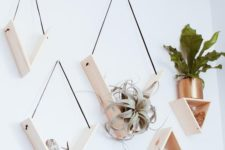 09 creative minimalist shelves with sleek triangular shapes and air plants will be a perfect wall garden