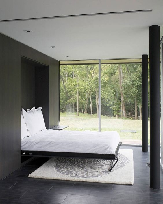 a laconic guest bedroom with a view and a Murphy bed can be transformed into any other space when the bed is not in use