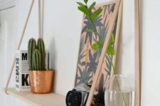 10 chic wood and leather hanging shelves are fast to make and leather adds texture to the space