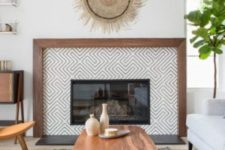 11 geometric tiles plus a rich stained wooden border is a statement idea for your modern farmhouse living room