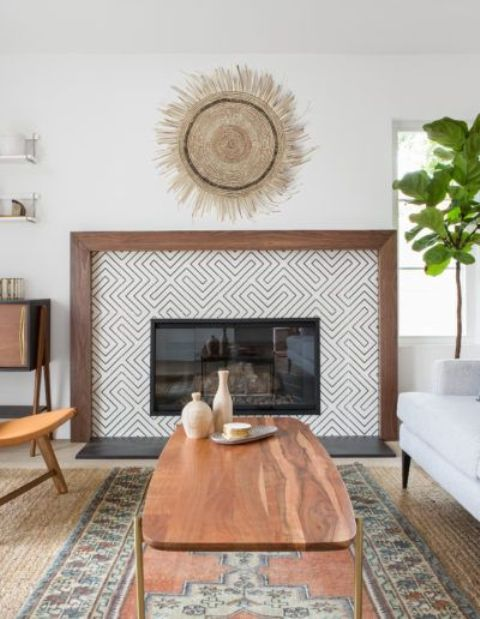 geometric tiles plus a rich stained wooden border is a statement idea for your modern farmhouse living room