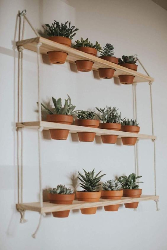 a contemporary shelving unit with several layers, neutral wood and ropes can function as a vertical garden for small spaces