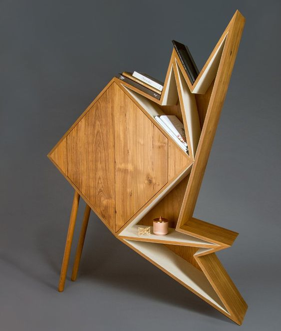 a fantastic wooden sculptural and geometric strage units shows that storing items is art, too