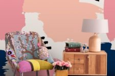19 colorful abstract wallpaper helps to make the living room more retro like