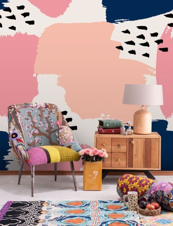 colorful abstract wallpaper helps to make the living room more retro like