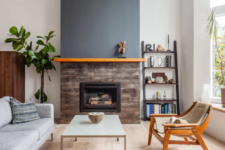 19 fire resistant wood look tiles will add a cozy rustic touch to the space and keep the fireplace  totally safe