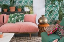 20 a tropical leaf wallpaper wall makes the living room more retro and more chic at once