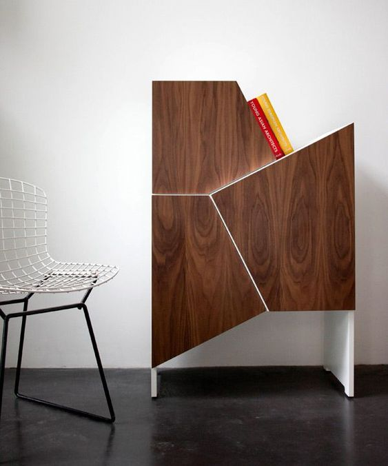 a geometric storage cabinet with several compartments separated, each of them can be used
