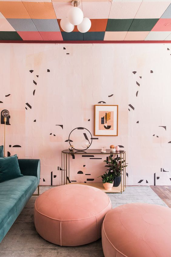 add color and pattern to your retro space with cool wallpaper like here and add a matching piece of furniture