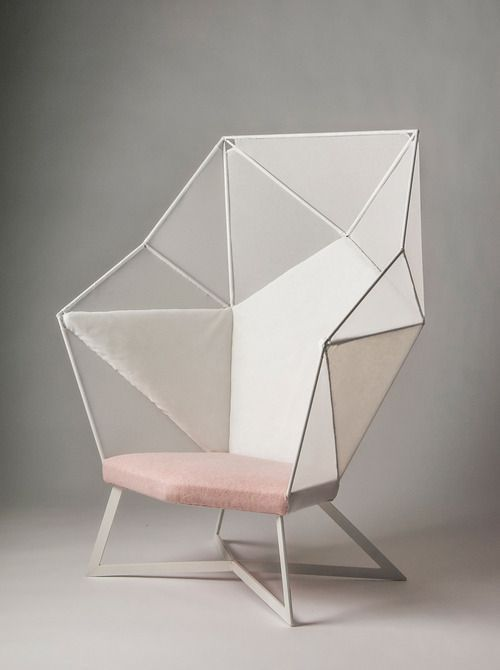 a tall geometric chair with a [ink seat and geometric legs will be a nice fit for a girlish room