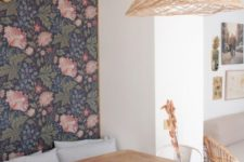 23 dark floral wallpaper on the accent wall instantly makes the dining space retro and stylish