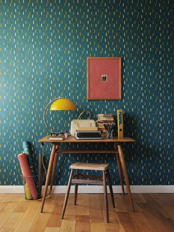 teal wallpaper with a unique abstract pattern will easily make the space retro and mid-century chic