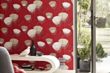 26 extra bold red wallpaper with an abstract pattern is a fantastic idea to add color and pattern plus a slight retro feel
