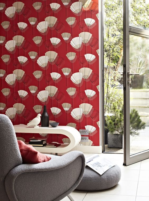 extra bold red wallpaper with an abstract pattern is a fantastic idea to add color and pattern plus a slight retro feel