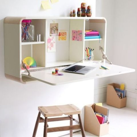 a Murphy desk for a kids' room is a stylish and smart option that allows saving much space and hide it when not necessary