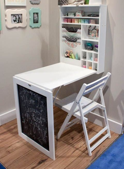 a large Murphy desk with a chalkboard and much storage space as a crafting and art station in your home