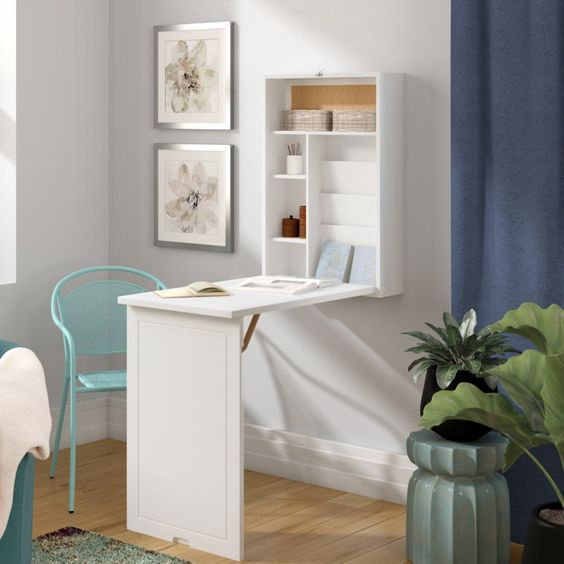 a simple white Murphy desk with enough storage space and a comfy working desktop to go for