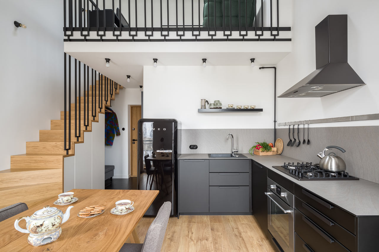 this stylish contemporary apartment features quirky touches and some space saving solutions