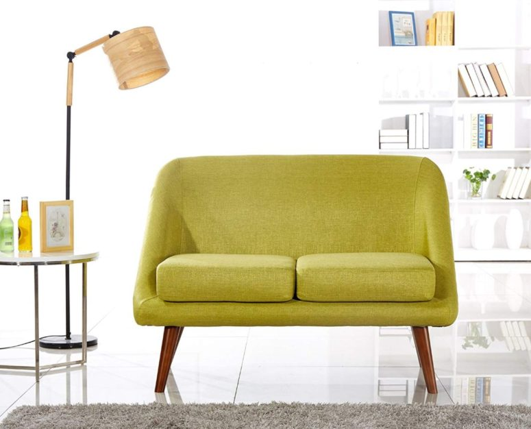 a bright mustard loveseat on wooden legs is a great statement furniture piece for a mid-century modern room