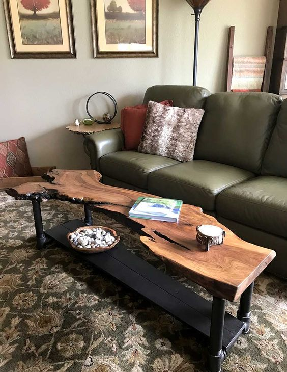 a catchy live edge coffee table like this one is an amazing idea for your chic living room
