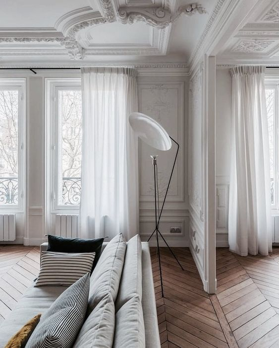white is an ideal color or walls and ceilings, it can be incorporated throughout the space to make the room brighter