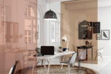 06 sheer muted color glass partitions are a stylish and contemporary way to divide spaces
