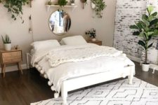 07 a neutral boho minimalist bedroom in white and greys plus light-toned wooden furniture