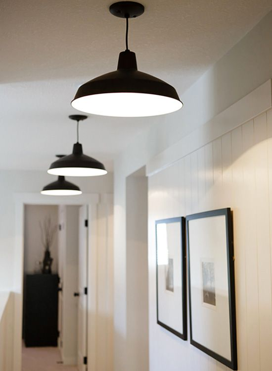 such black pendant lamps are timeless, get several ones to light up your hallway with style