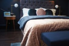 09 a moody bedroom done with navy and greys plus soft pastel touches is a great idea for those who love sleeping in darker spaces