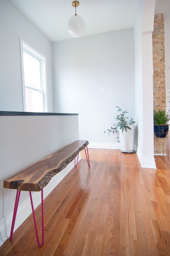a sleek live edge bench with hot pink hairpin legs will make a stylish statement in your eclectic and quirky home