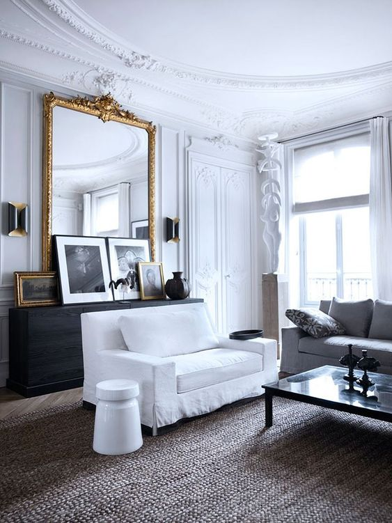 gorgeous molding on the walls and ceiling is right what you need to make your living room truly Parisian