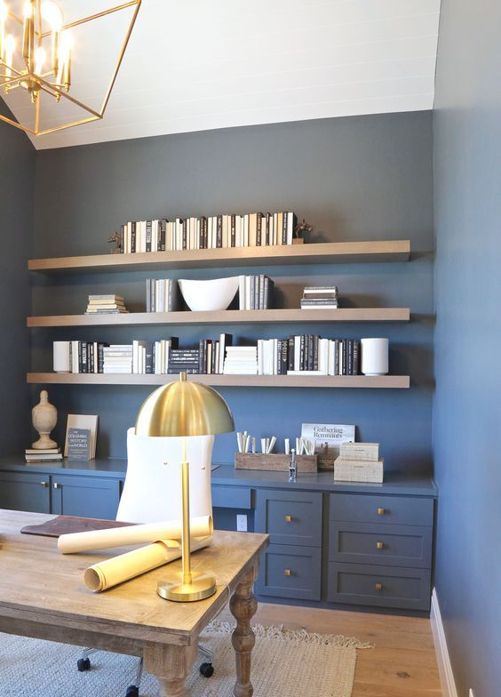 a soft grey bleu shade on the walls is a very beautiful and soothing idea, it goes amazing with gold touches