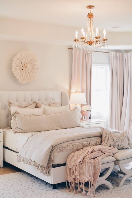 blush, dusty pink and white are amazing to make your bed look very soothing and welcoming